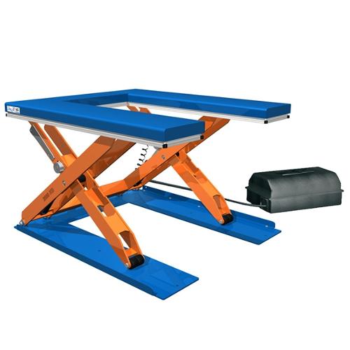 "Low profile lift tables - ""U"" and ""E"" shape platform"