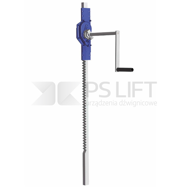 Wall mounted rack-and-pinion jack for transport