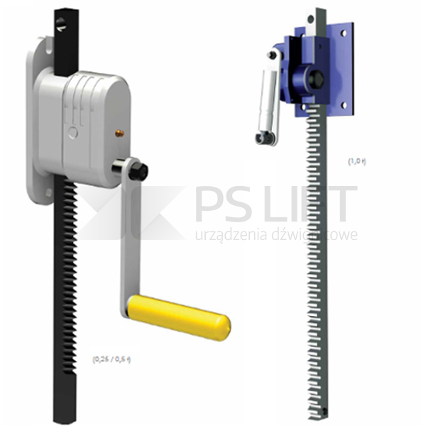 Wall mounted rack-and-pinion with warm gear
