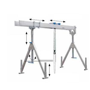 Stationary aluminium gantry crane, capacity 2000 and 3000 kg